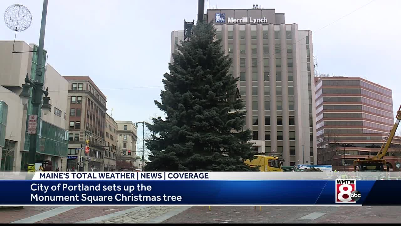 Portland Maine Christmas.Portland S Christmas Tree Arrives In Monument Square