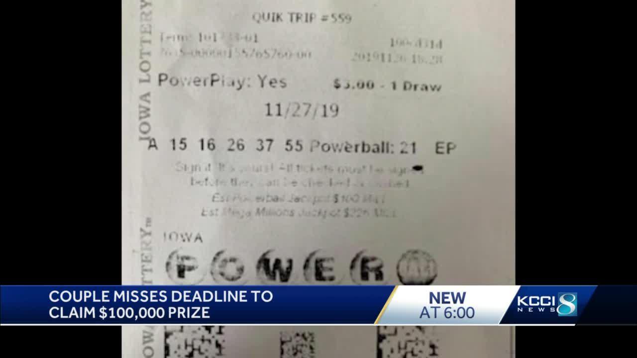 Des Moines couple misses $100K lottery prize due to pandemic