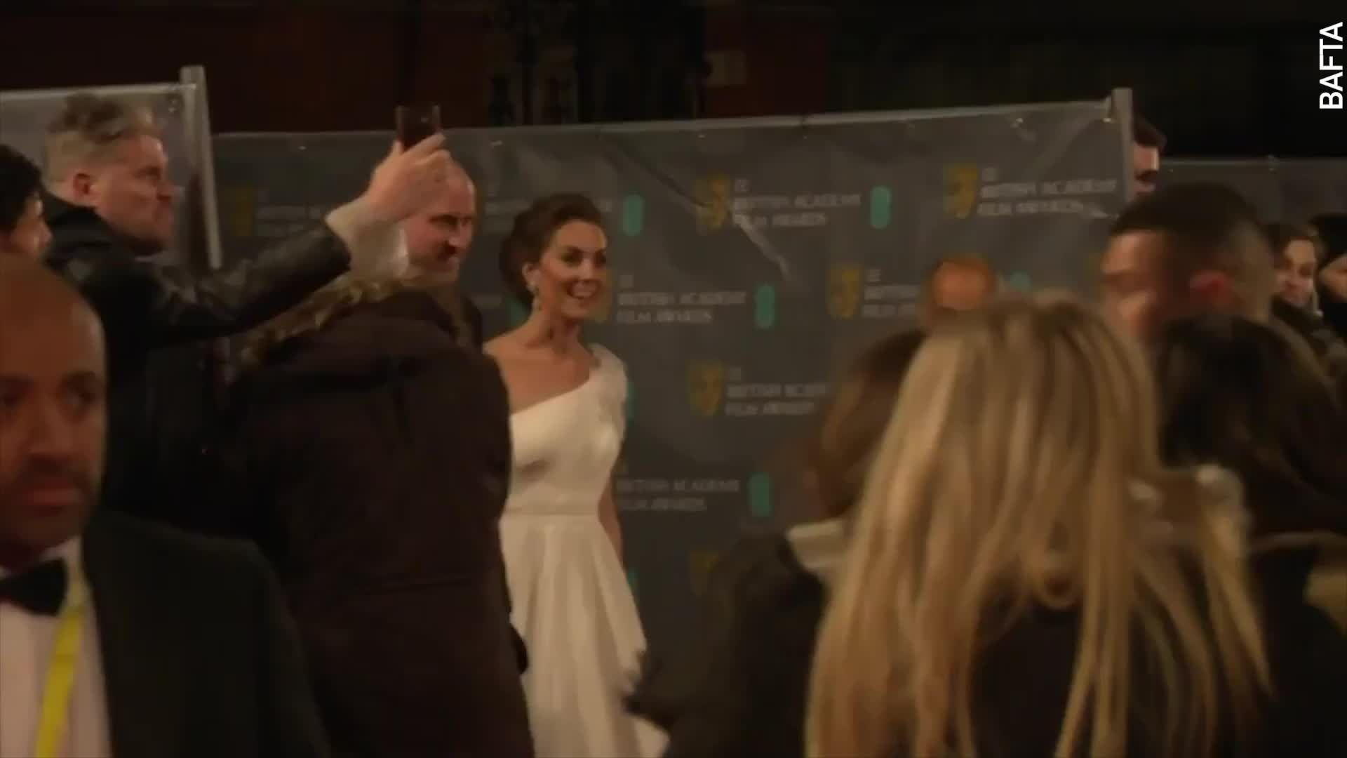 The Moment You Missed: Claire Foy's Funny Facial Expression The Moment Prince William And Kate Middleton Arrive At BAFTAs