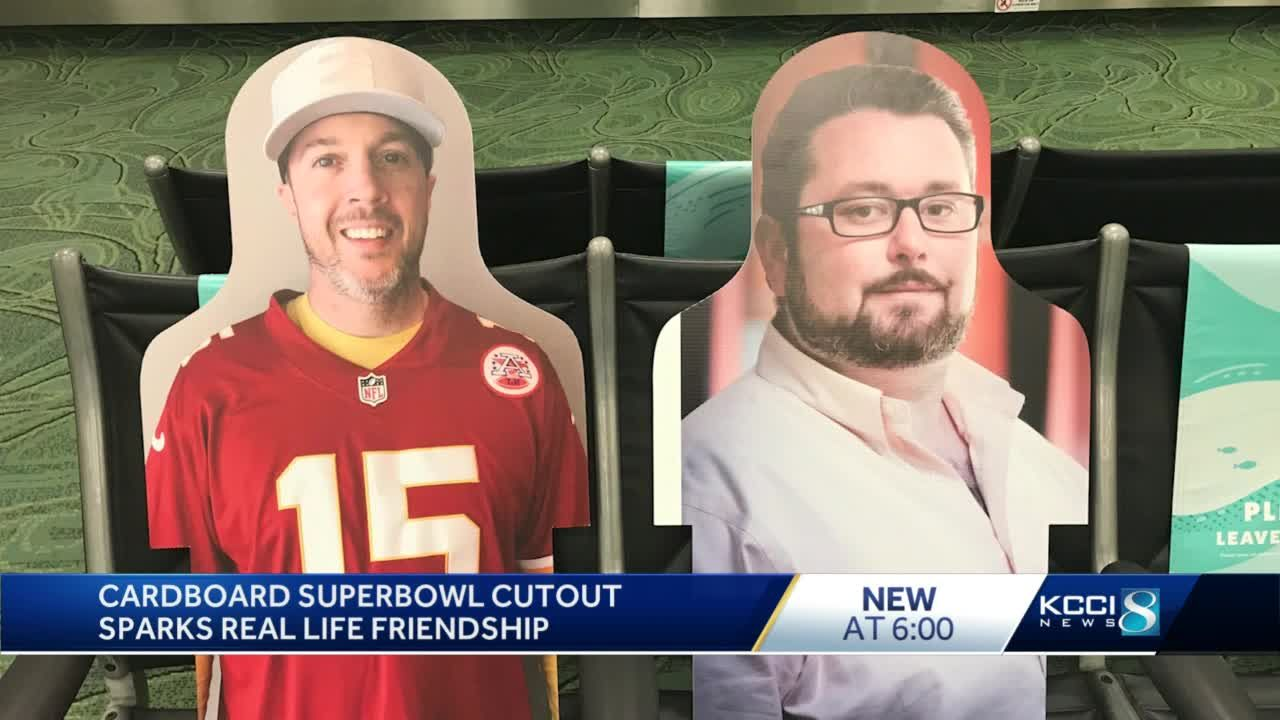 Cardboard Super Bowl cutout sparks real life friendship that's here to stay