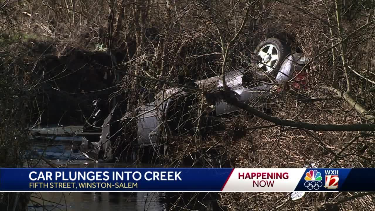 Winston-Salem first responders at crash scene after car found flipped upside down in Salem Creek