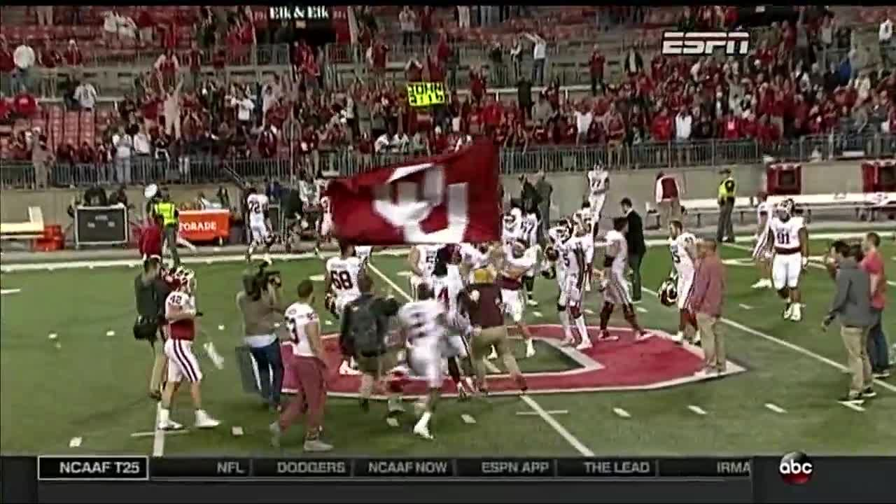 20c518e6460 WATCH  Baker Mayfield  plants the flag  after Sooners victory over Ohio  State