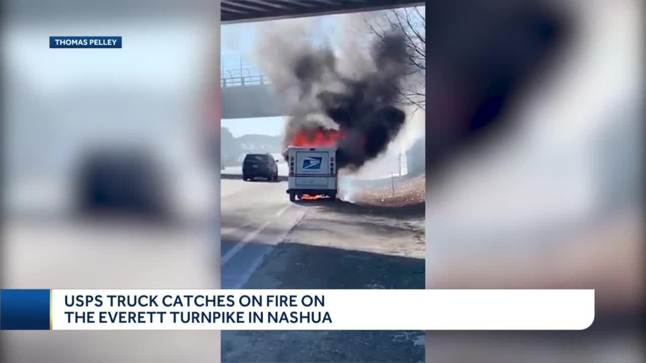 USPS mail truck catches fire on Everett Turnpike in Nashua