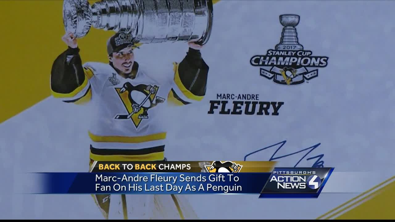 pretty nice 5fe41 598d3 Marc- Andre Fleury sends gift to fan on his last day as a Penguin