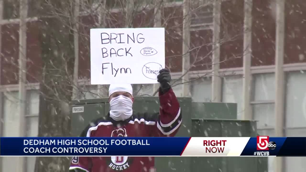 Dedham students protest football coach change