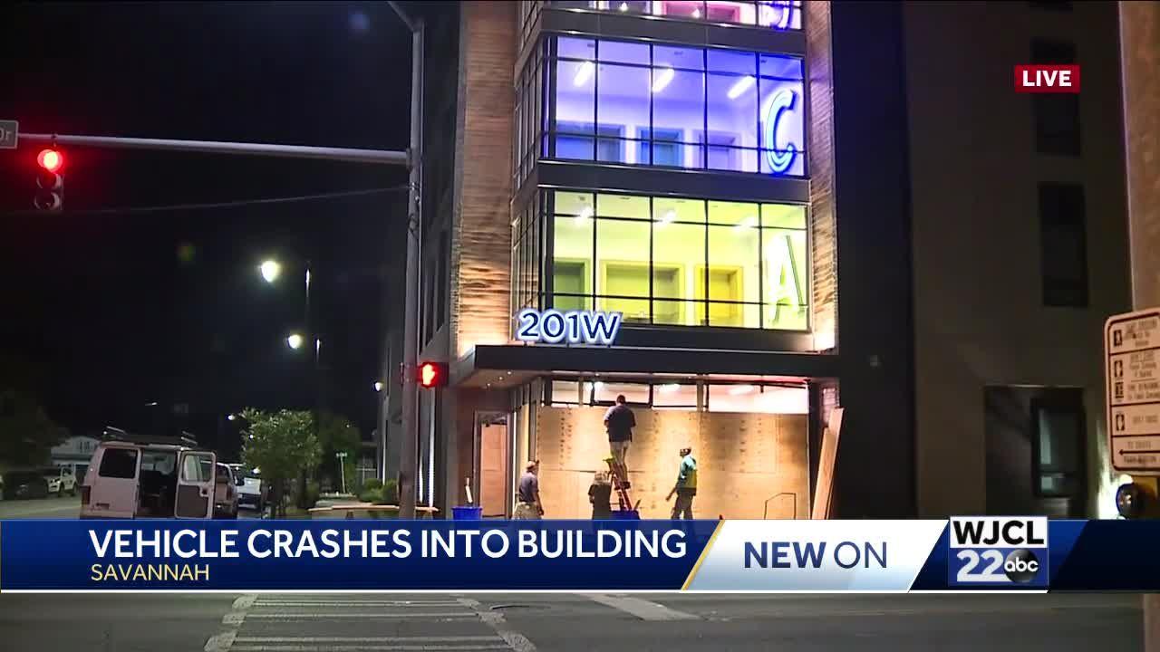 Car into SCAD building in downtown Savannah