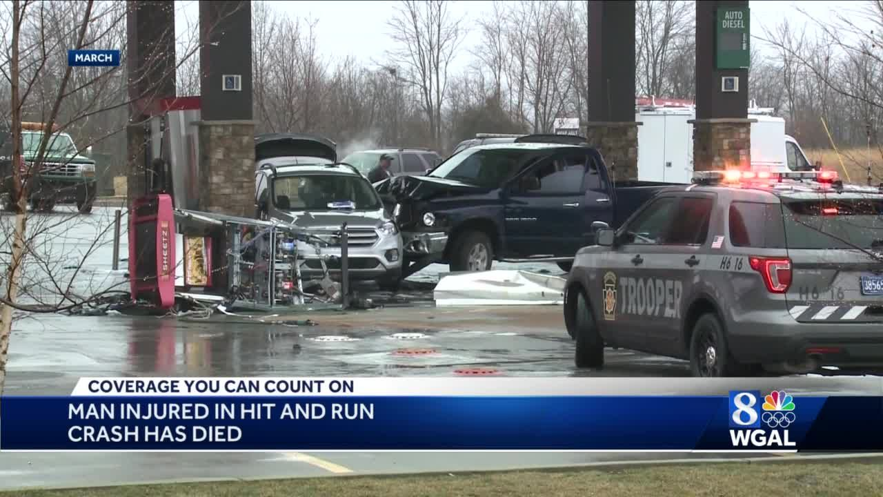 Coroner: Man injured in hit-and-run crash at Sheetz near Gettysburg has died