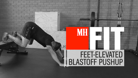 How to Do the Feet-Elevated Blast-Off Pushup