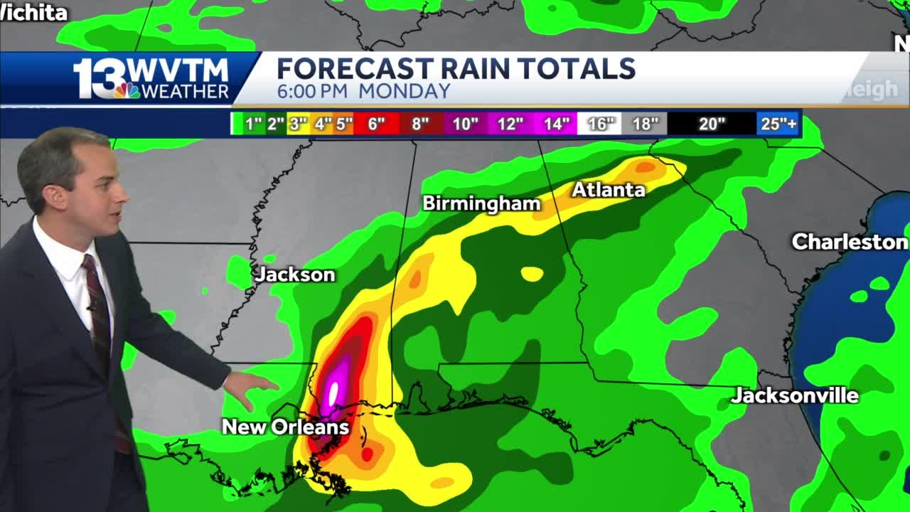 Tropical rain forecast for central Alabama