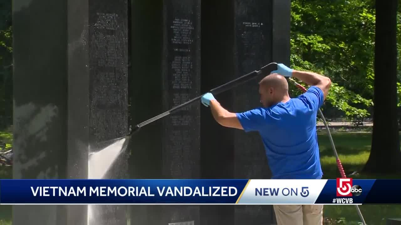 War memorial defaced with red paint