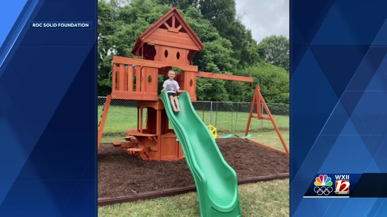 Winston-Salem volunteers build playset to surprise 6-year-old boy with cancer