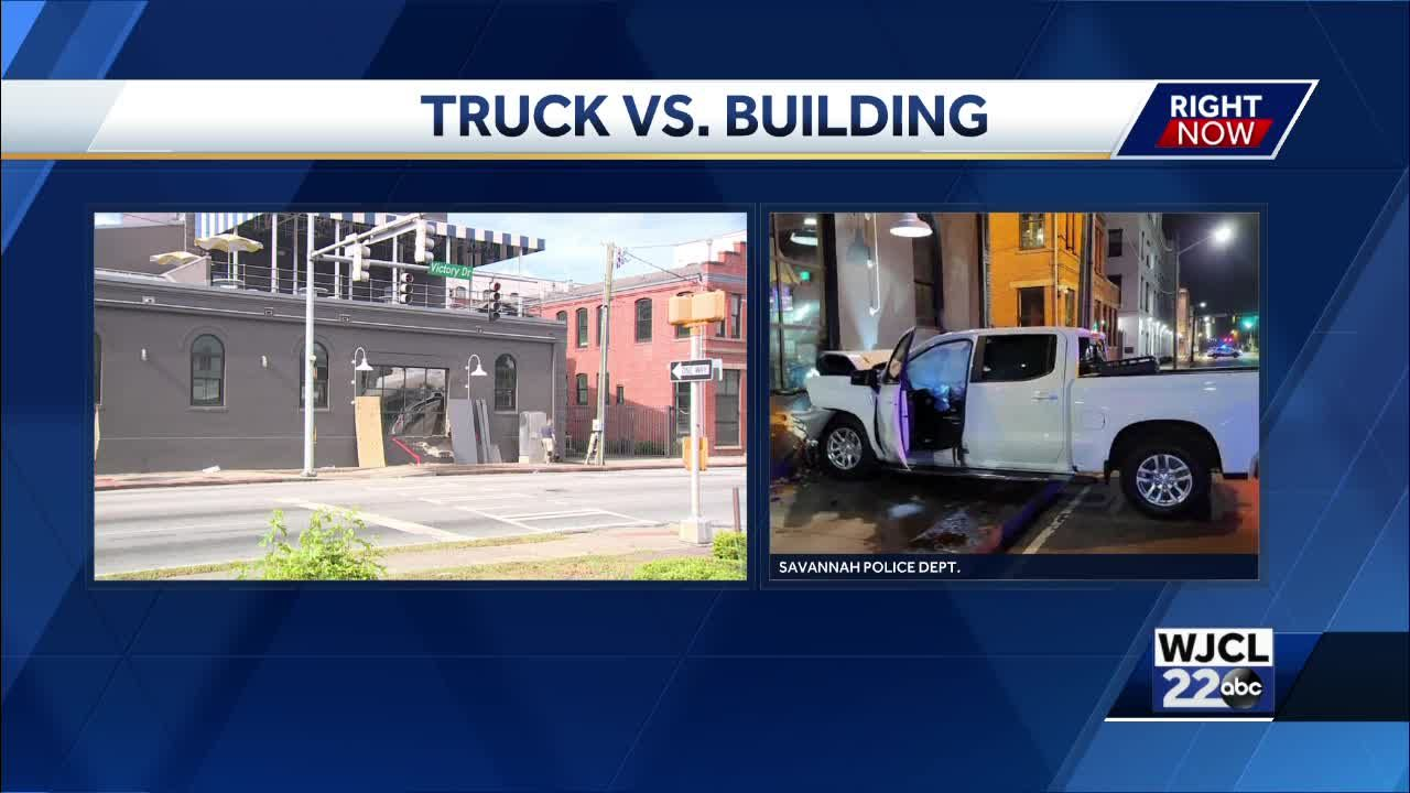 Savannah Police: Pickup truck crashes into building, causes serious injuries
