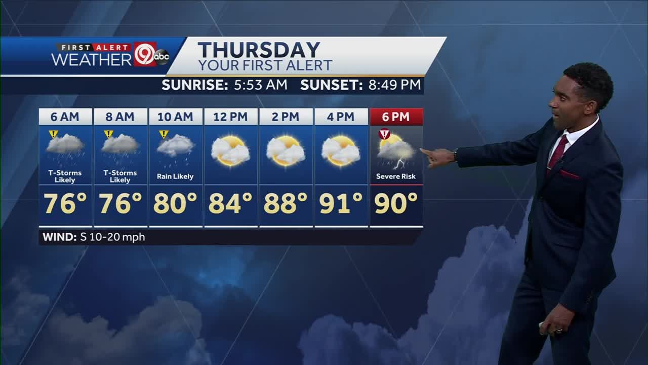Thunderstorms possible Thursday morning, again later in the day