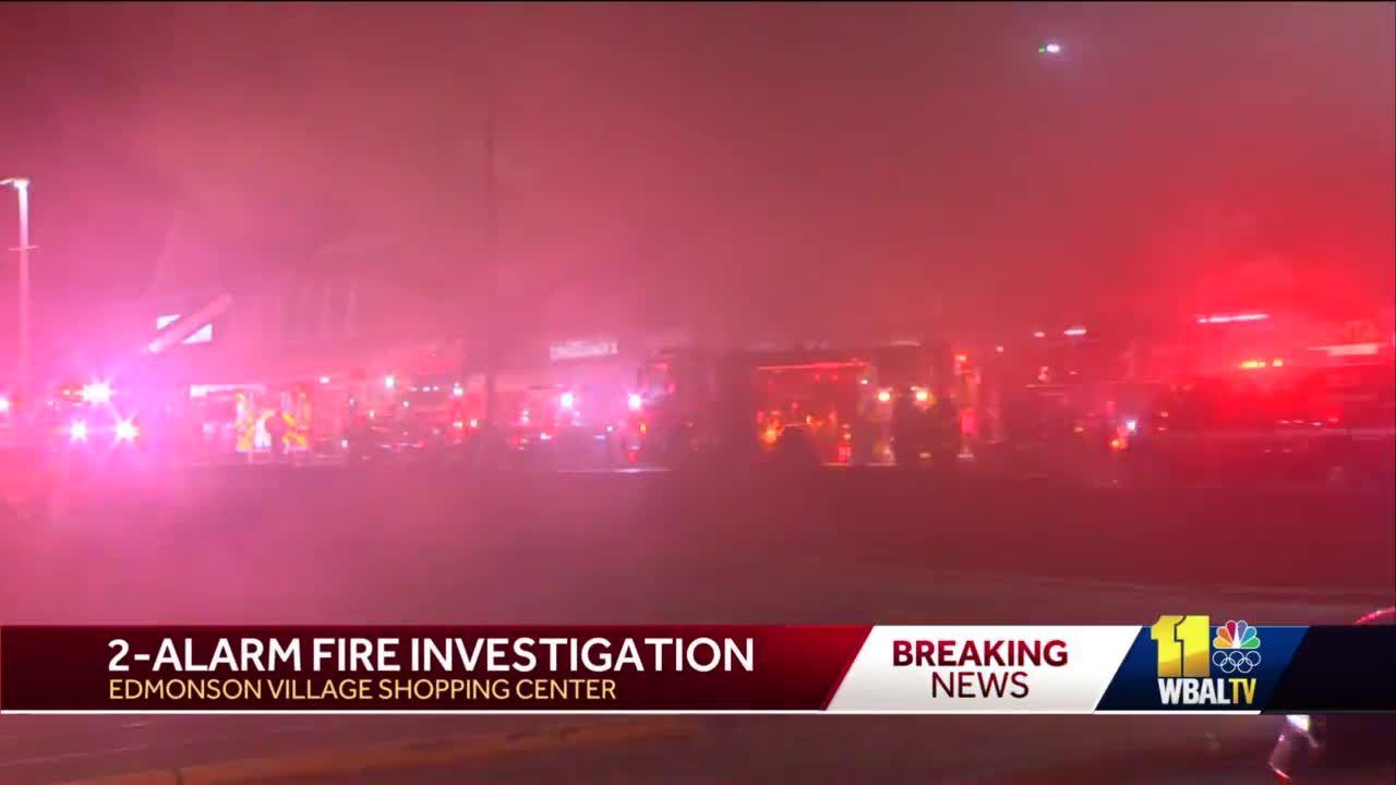 Crews fight 2-alarm fire at Edmondson Village Shopping Center