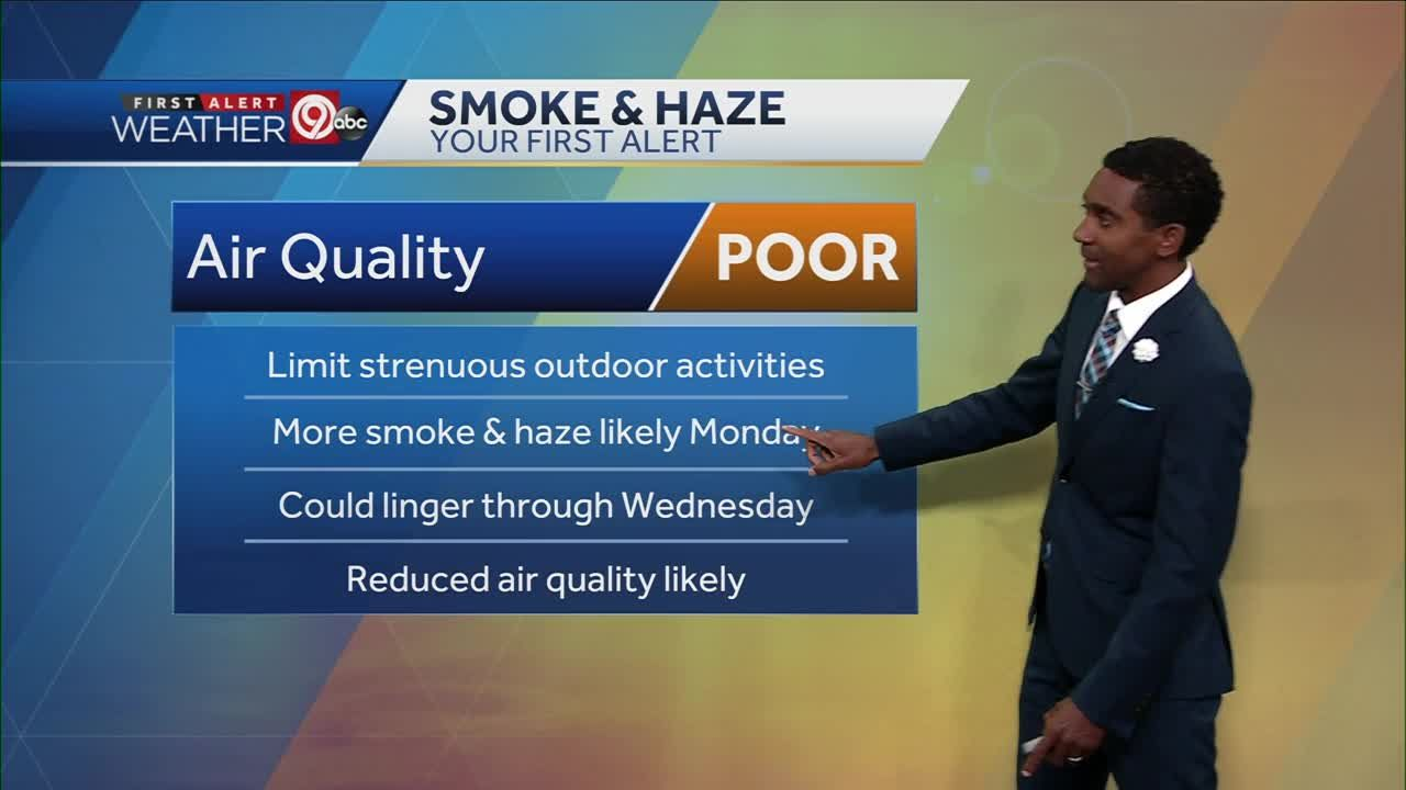 Smoke, haze lingers into Monday; cooler temperatures expected