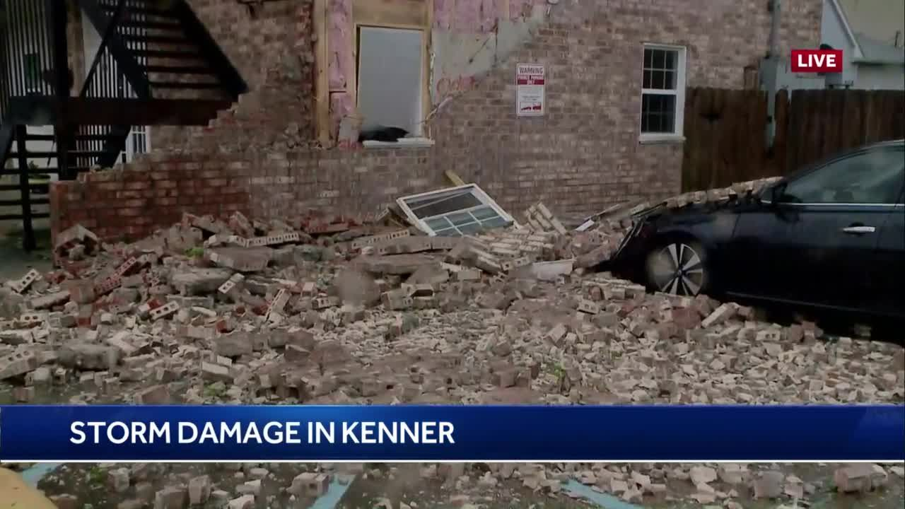 Side of building that houses multiple Kenner businesses collapses