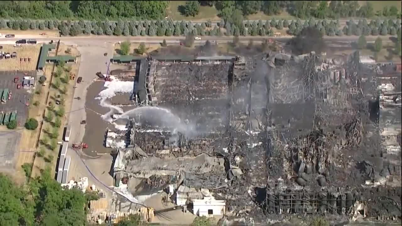 Video shows still-smoldering chemical plant ruins
