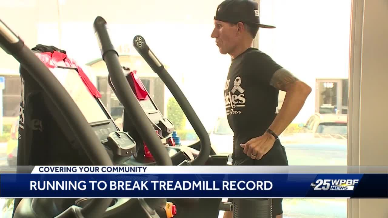 Running to break treadmill record