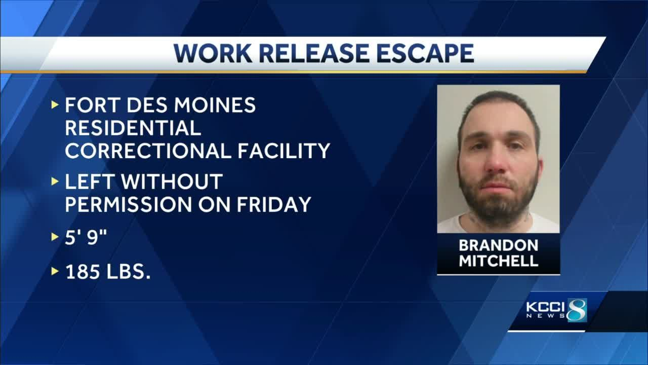 Iowa DOC searching for work release escapee Brandon Mitchell