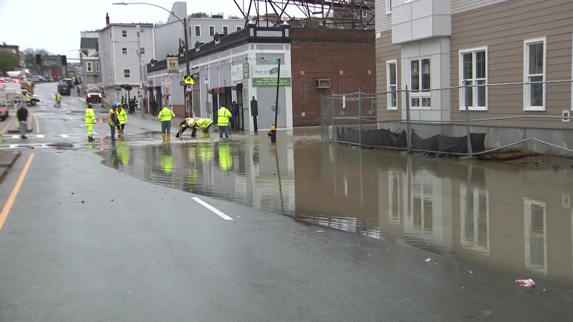 Water main leak sends water spewing into South Boston streets