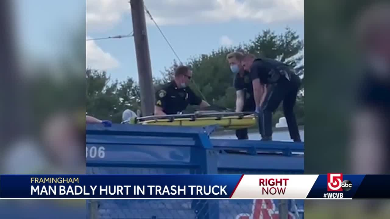 Man dumped into Massachusetts garbage truck seriously injured, flown to hospital