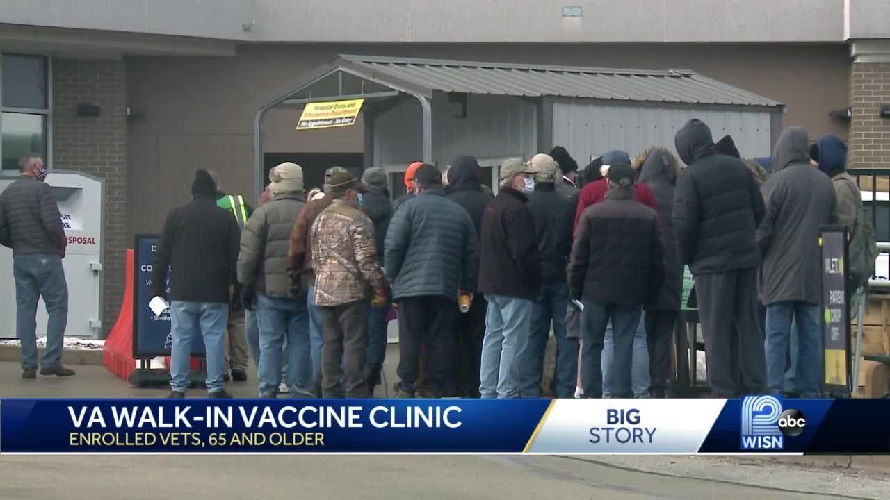 Veterans line up for COVID-19 vaccine at VA