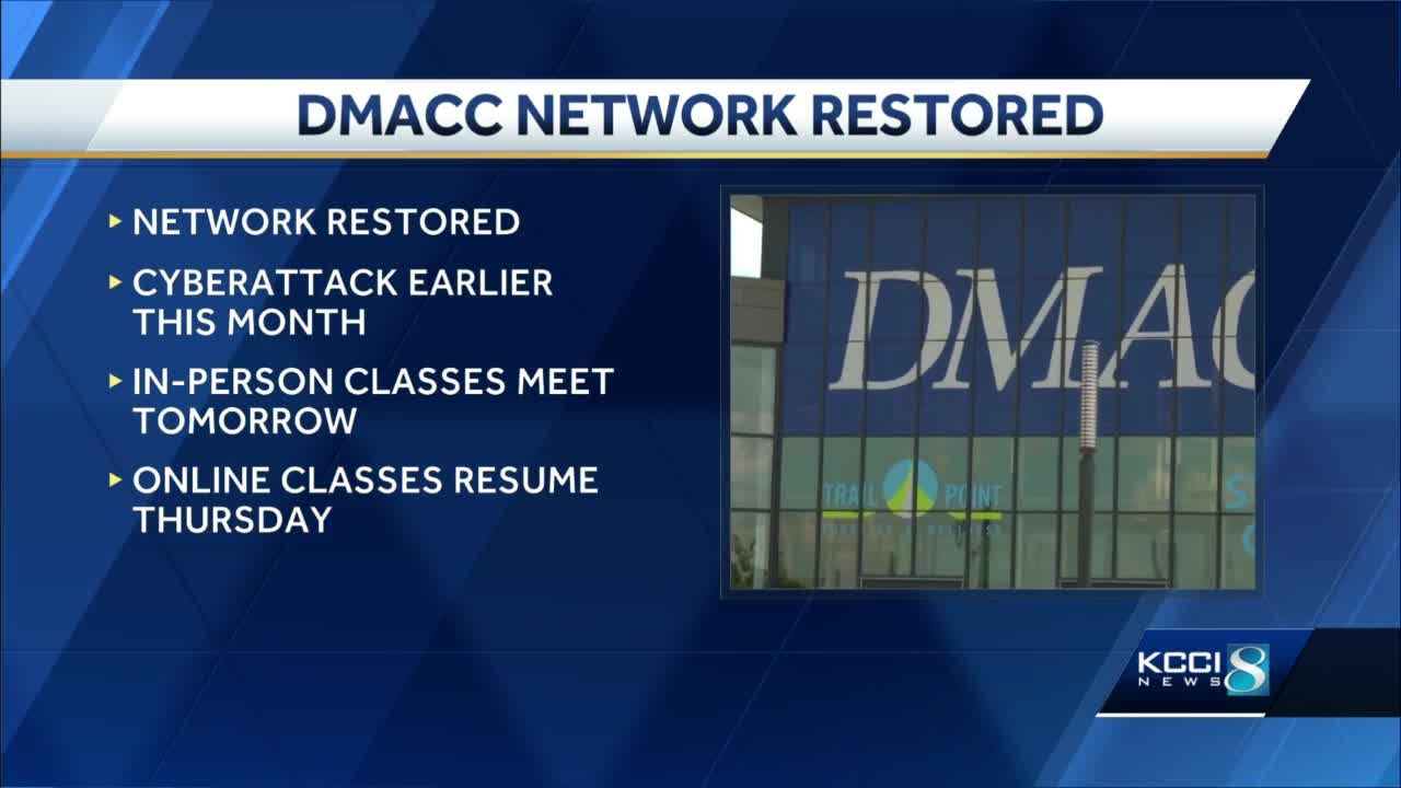 DMACC network restored following cyberattak, online classes resume Thursday