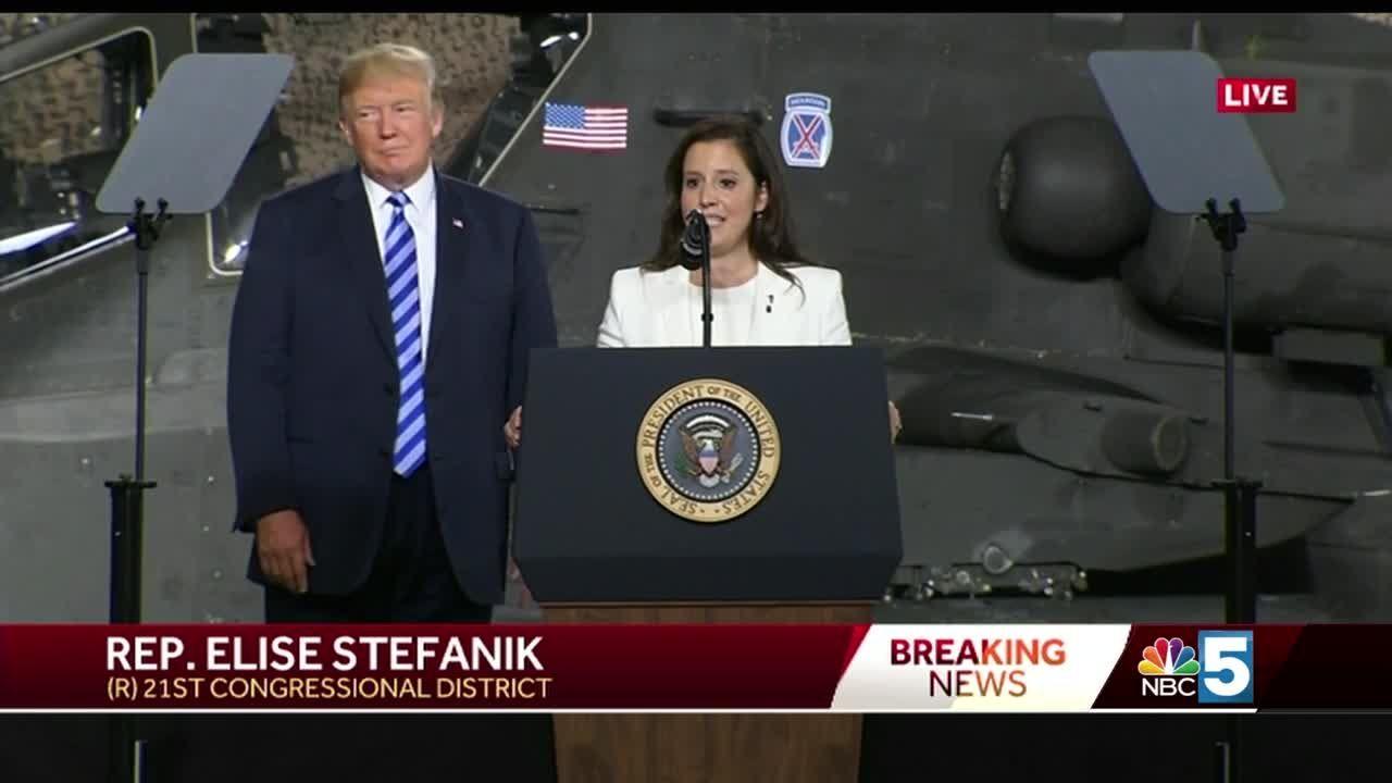 Watch: President Trump introduces Rep  Elise Stefanik at Fort Drum