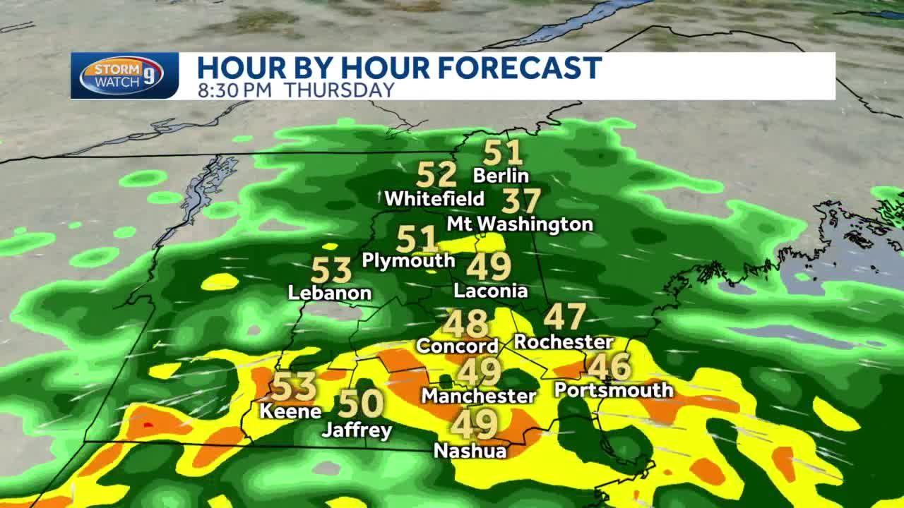 Rain, heavy at times, moving through NH