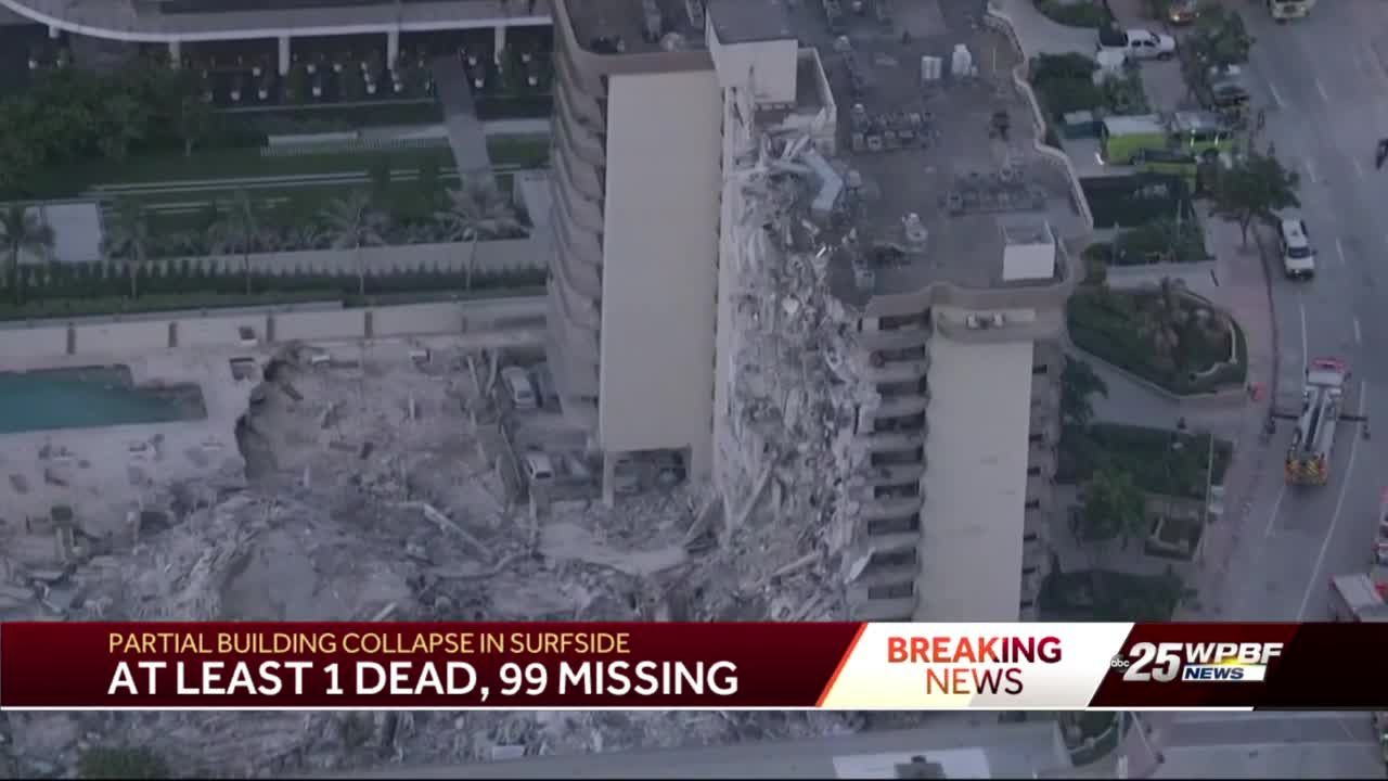 At least one dead, 99 missing in Surfside partial building collapse