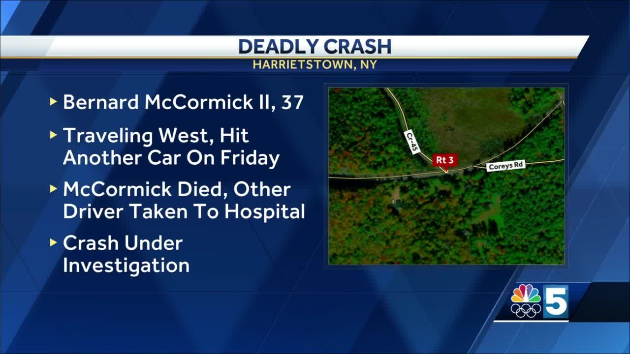 New York State Police say a Saranac Lake man is dead after a crash in Harrietstown
