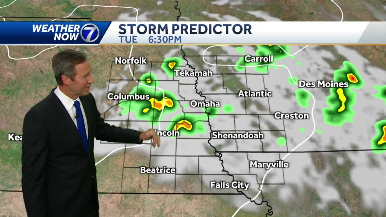 Tuesday afternoon storm chance