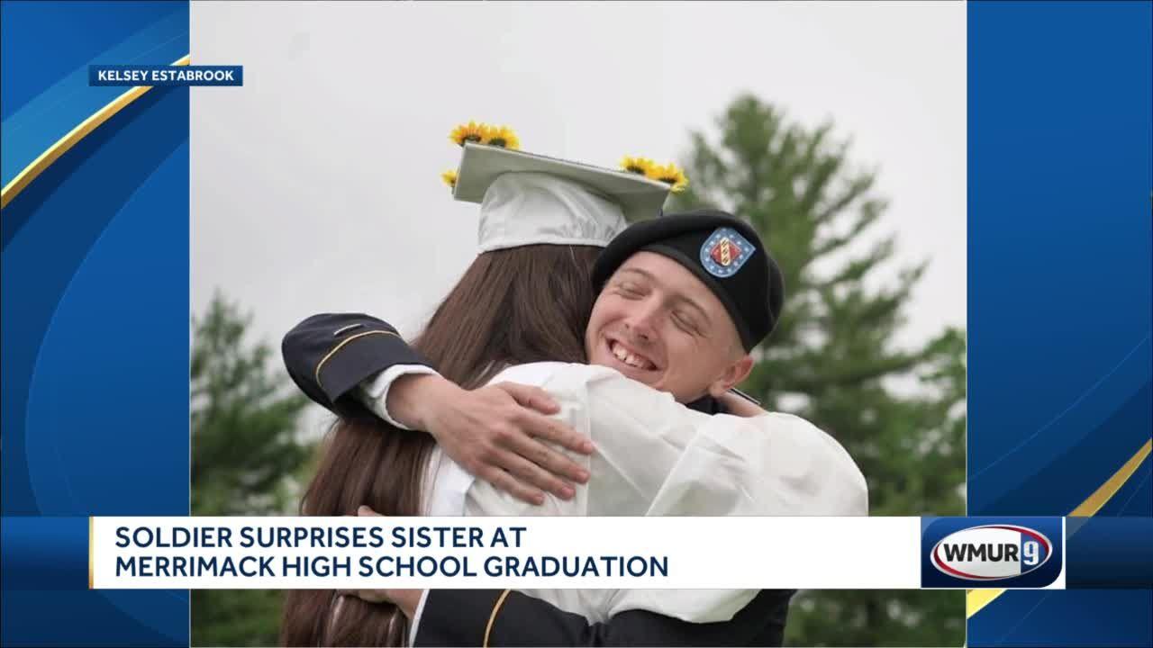 Soldier surprises sister at Merrimack High School graduation
