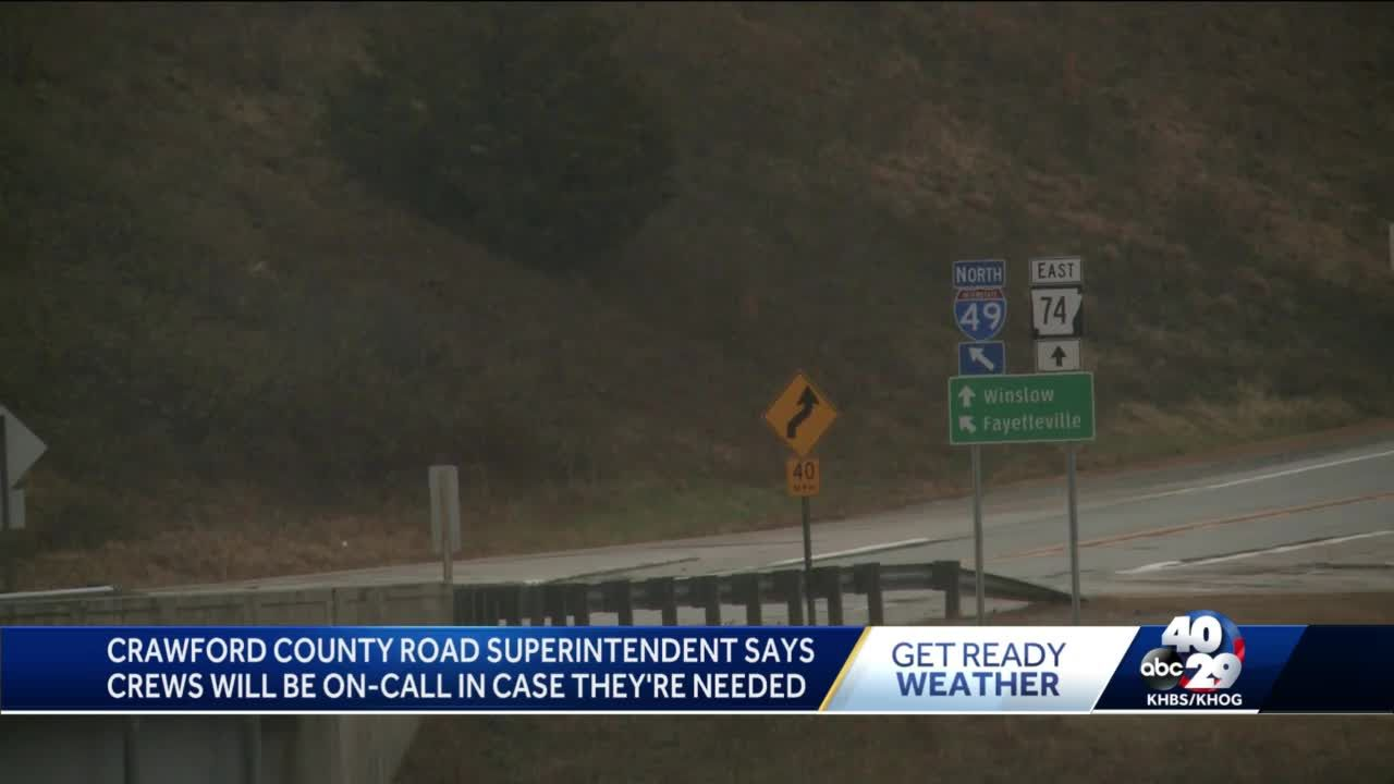 Crawford County road superintendent says crews will be on-call in case they're needed