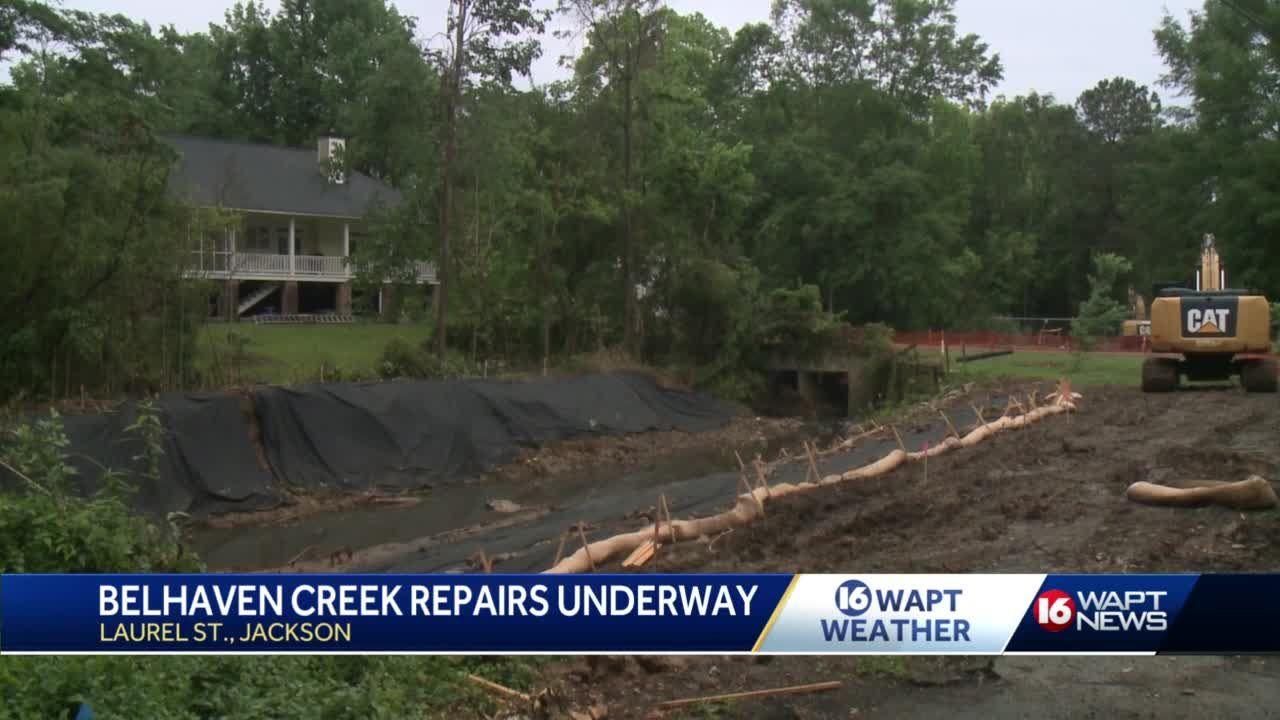 Crews get to work fixing Belhaven Creek