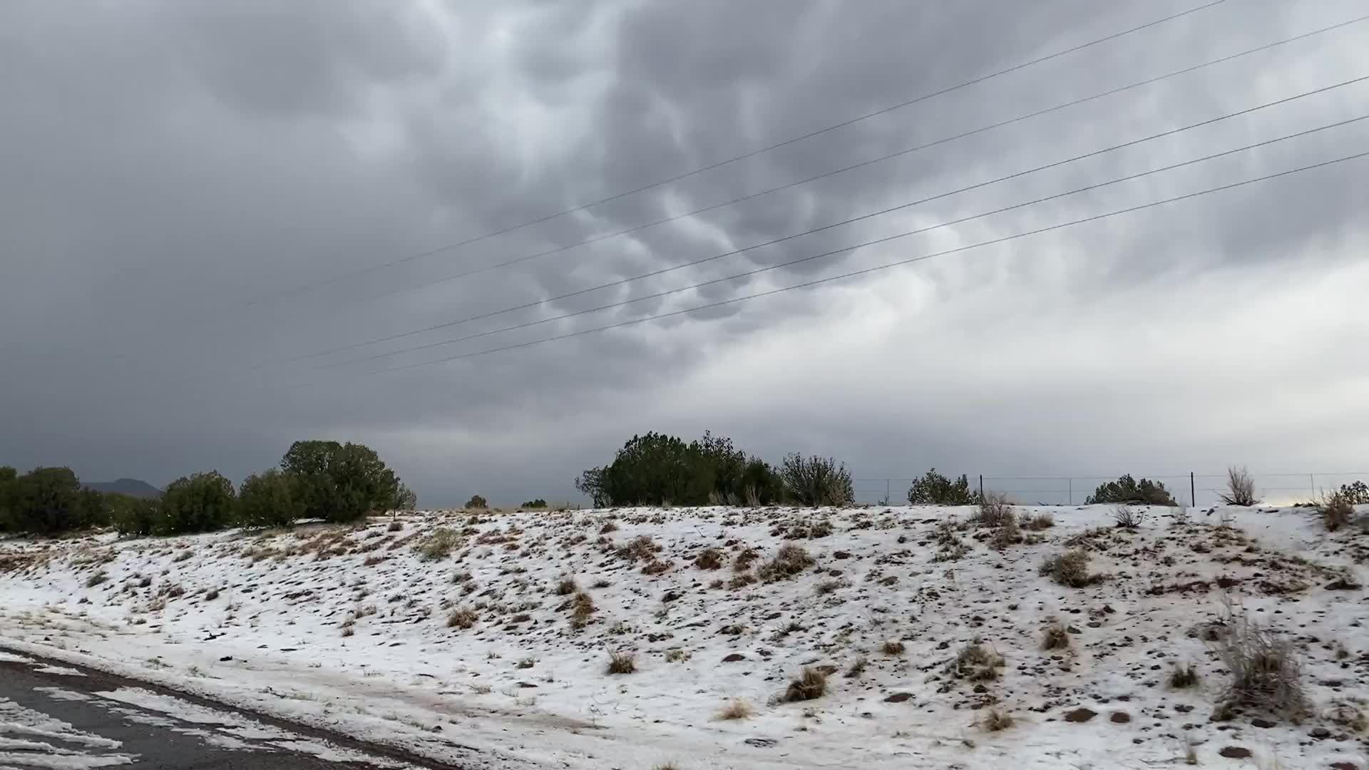 Hail fall near I-25 and Santo Domingo