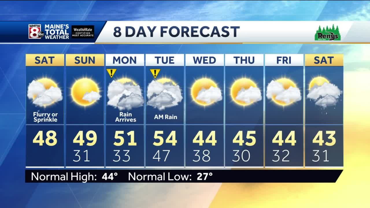 An isolated shower or flurry Saturday, sunshine on Sunday