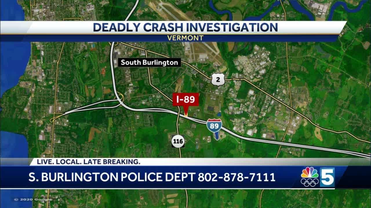 Two people are dead after vehicle hits guardrail on I-89 in South Burlington