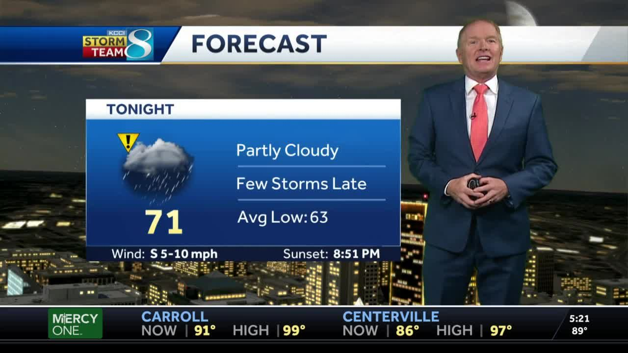 Partly cloudy Wednesday evening, storms possible overnight