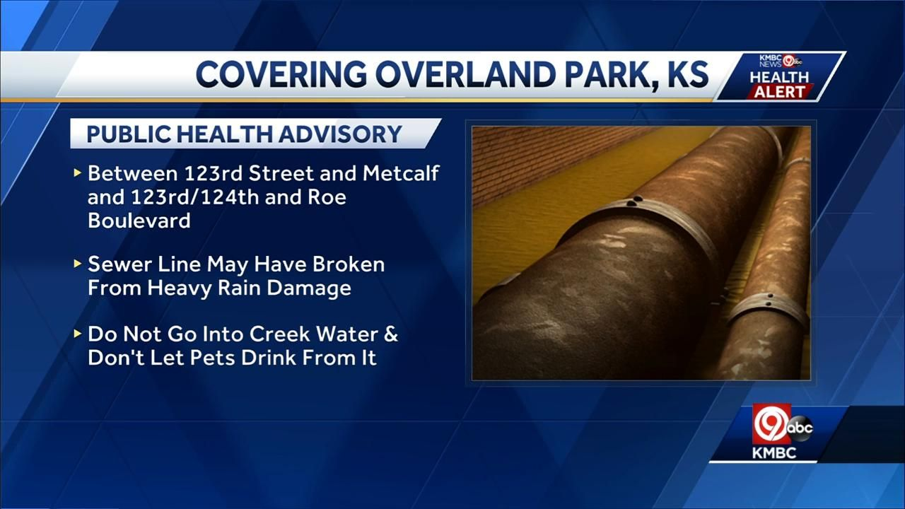 Health advisory issued for creek in Overland Park because of sewer line break