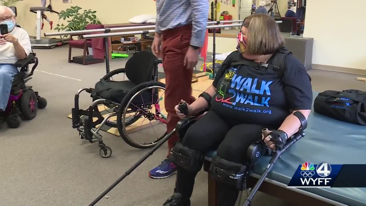 Woman walks with first exoskeleton in the Upstate