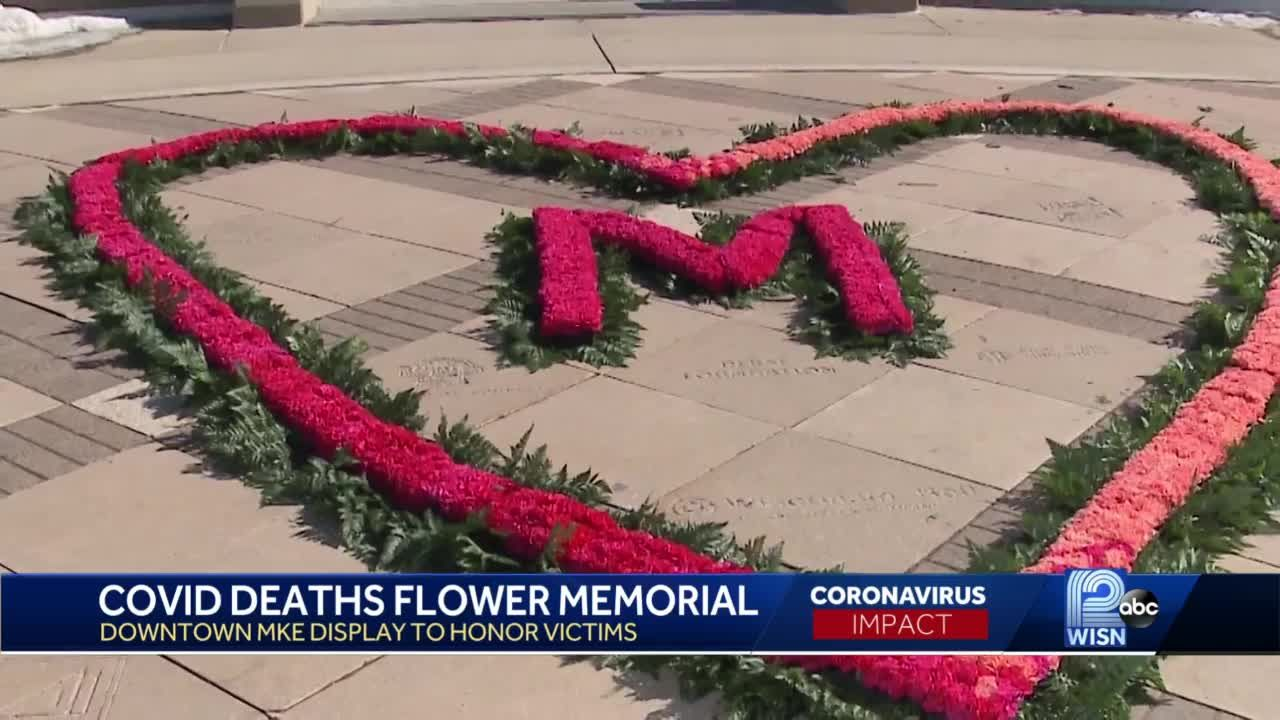 Artist makes flower heart for COVID-19 victims