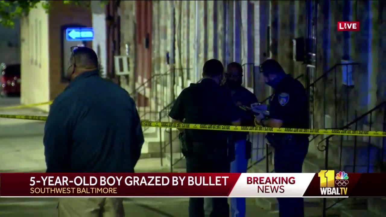 Child in southwest Baltimore grazed by bullet