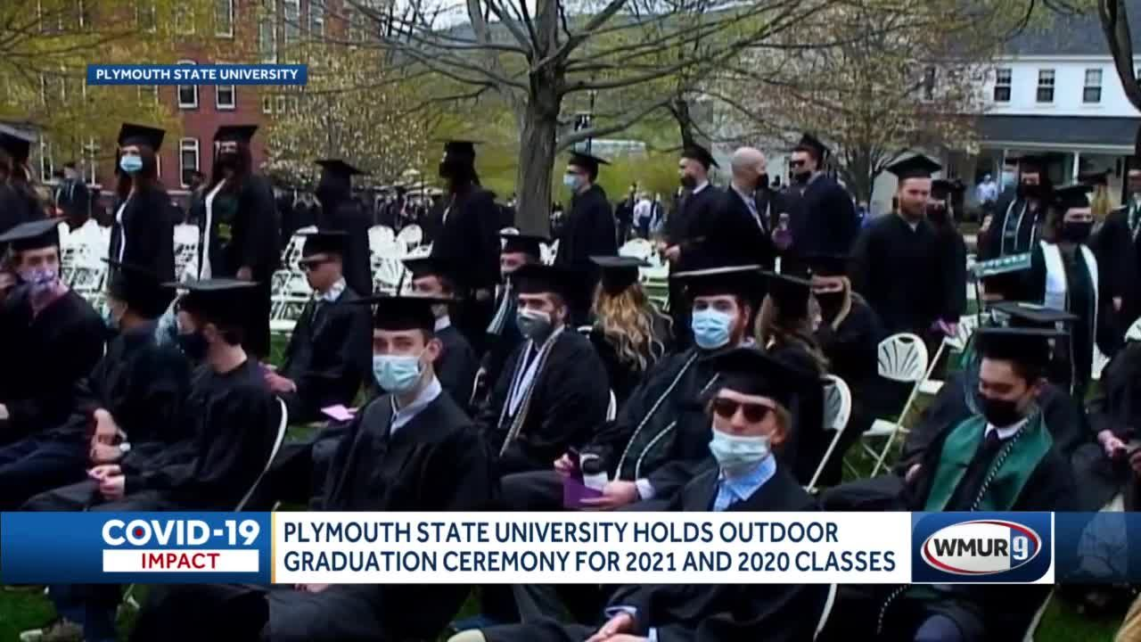 Plymouth State University holds outdoor graduation ceremony for 2021 and 2020 classes