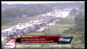 Crash backs up traffic for miles on Florida Turnpike