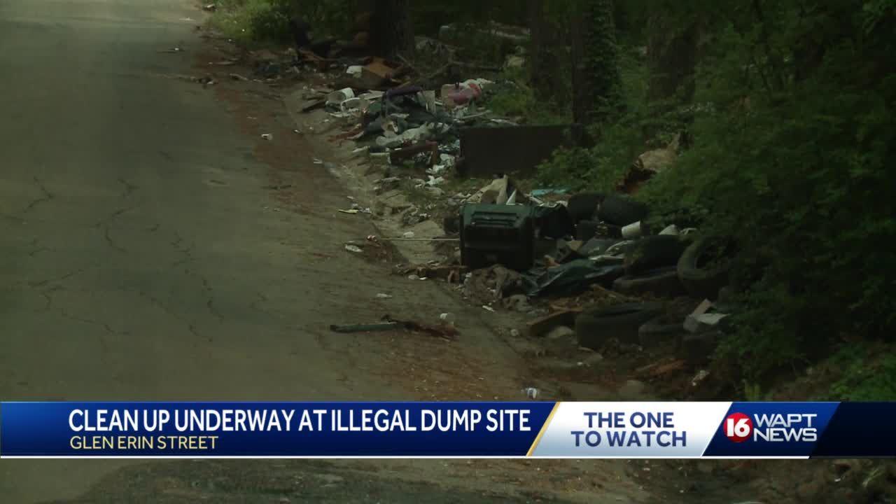 Crews clean up Glen Erin Drive dumping