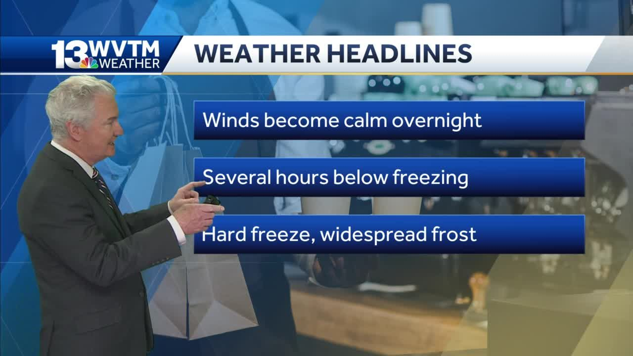 Temperatures below freezing overnight in central Alabama