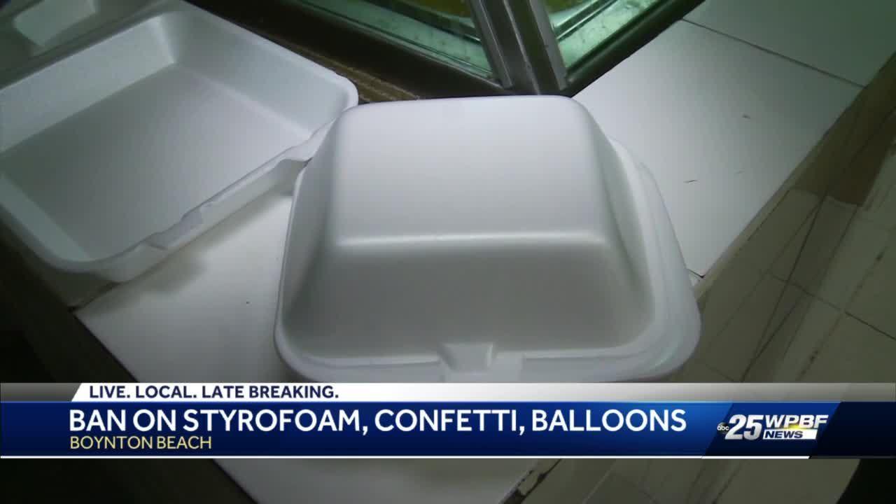 Ban on styrofoam, confetti, balloons
