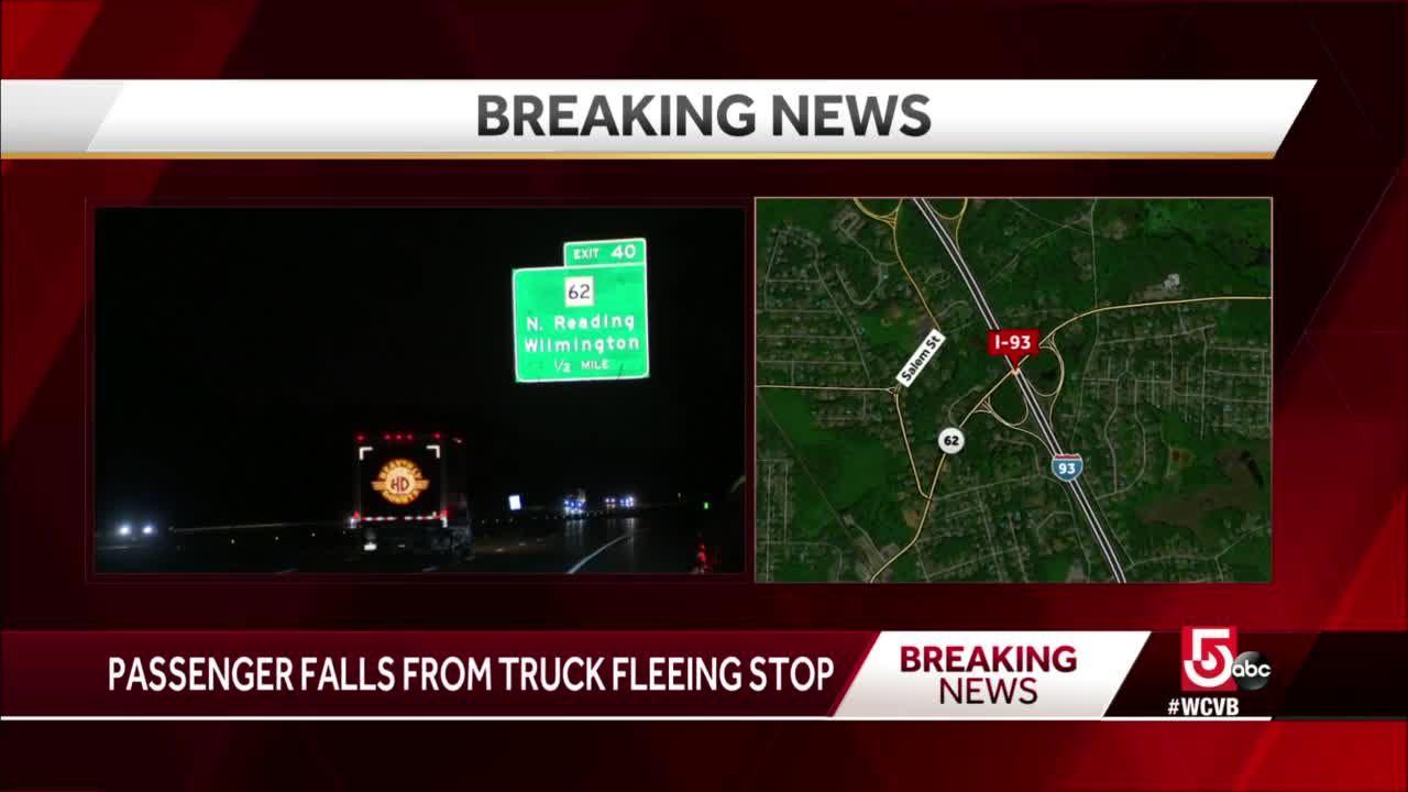 Passenger falls from fleeing vehicle