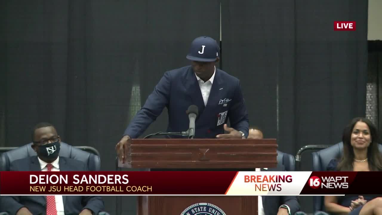 Deion Sanders speaks for first time as JSU head football coach